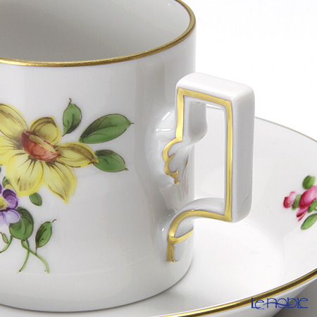 Augarten 'Simple Coloured Floral Bouquets - Narcissus' [Habsburg shape] Mocha Coffee Cup & Saucer 80ml