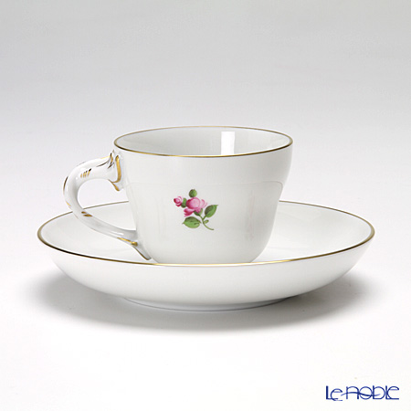 Augarten 'Simple Coloured Floral Bouquets - Narcissus' [Rococo shape] Mocha Coffee Cup & Saucer