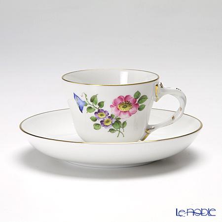 アウガルテン(AUGARTEN) シンプルブーケ(5052B) 野バラモカカップ&ソーサー ロココ(070)