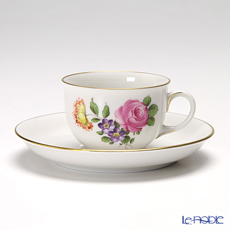 アウガルテン(AUGARTEN) シンプルブーケ(5052C) ピンクのバラ モカカップ&ソーサー 0.08L(001)
