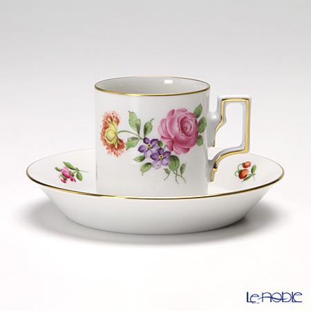 アウガルテン(AUGARTEN) シンプルブーケ(5052C) ピンクのバラモカカップ&ソーサー ハプスブルグ(059)