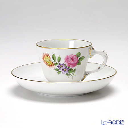 アウガルテン(AUGARTEN) シンプルブーケ(5052C) ピンクのバラ モカカップ&ソーサー ロココ(070)