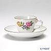 アウガルテン(AUGARTEN) シンプルブーケ(5052C) ピンクのバラモカカップ&ソーサー ロココ(070)