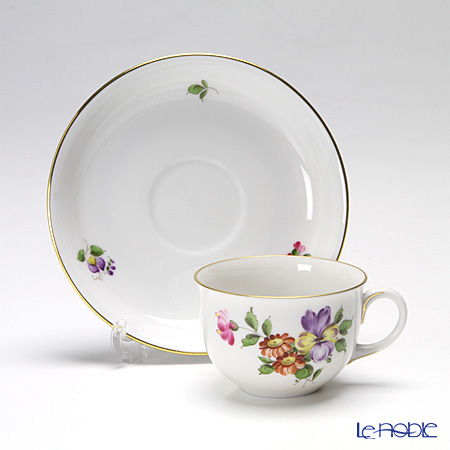 Augarten 'Simple Coloured Floral Bouquets - Pansy' [Schubert shape] Mocha Coffee Cup & Saucer 80ml
