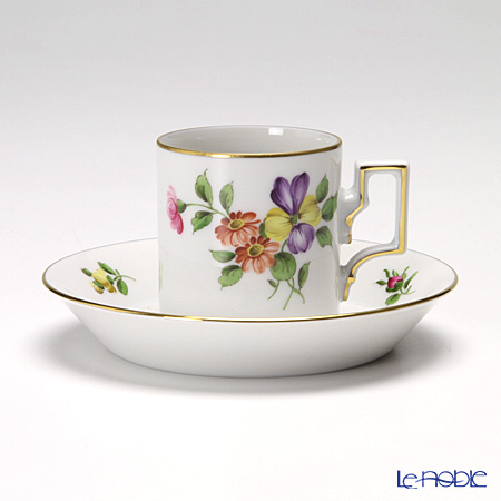 Augarten 'Simple Coloured Floral Bouquets - Pansy' [Habsburg shape] Mocha Coffee Cup & Saucer 80ml