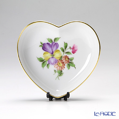 Augarten 'Simple Coloured Floral Bouquets - Pansy' Heart Dish 10cm
