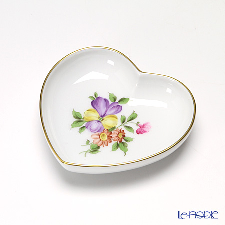 Augarten Simple Coloured Floral Bouquets Heart Dish 10 cm, Pansy 5052D / 862