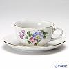Augarten 'Simple Coloured Floral Bouquets - Binweed' [Schubert shape] Tea Cup & Saucer 200ml (S)
