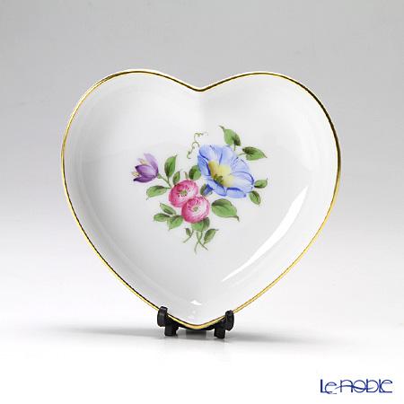 Augarten Simple Coloured Floral Bouquets Heart Dish 10 cm, Convolvulus 5052D / 842862