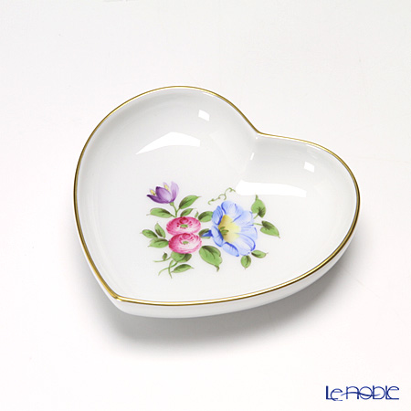 Augarten Simple Coloured Floral Bouquets Heart Dish 10 cm, Convolvulus 5052D / 842862