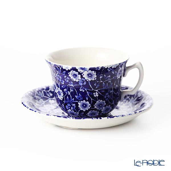 Burleigh Pottery Blue Calico Teacup & Saucer 187 ml