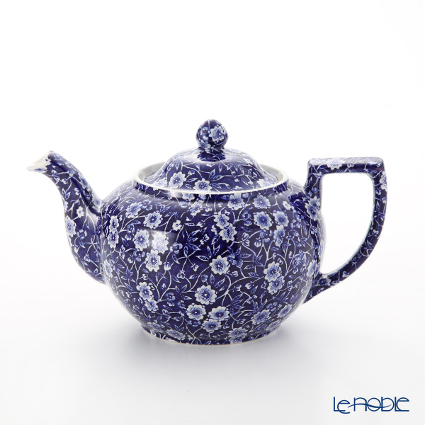 Burleigh Pottery Blue Calico Teapot, large, 7 cups 800 cc / 1.5 pt