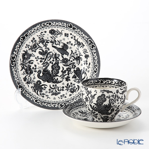 Burleigh Pottery Black Regal Peacock Plate 17 cm and Teacup & Saucer