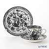 Burleigh Pottery 'Black Regal Peacock' Tea Cup & Saucer, Plate (set of 2 for 1 person)