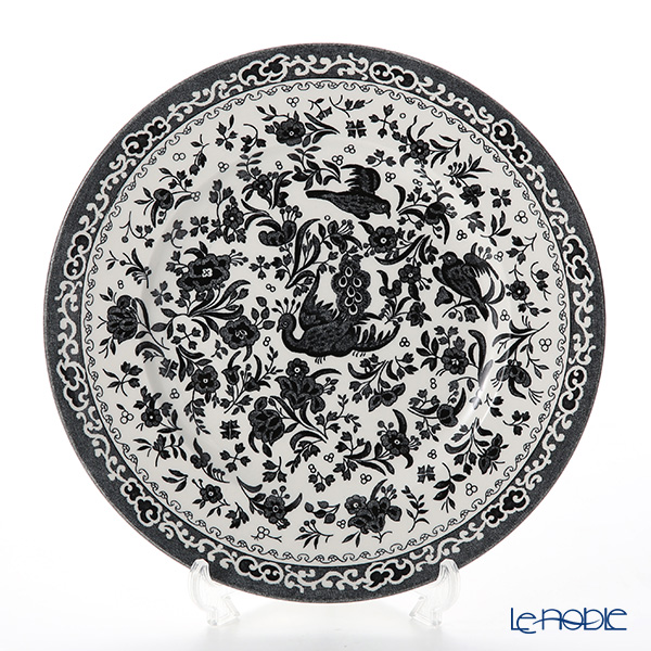 Burleigh Pottery Black Regal Peacock Plate 22.5 cm