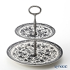 Burleigh Black Regal Peacock 2 Tier Cake Stand H24cm
