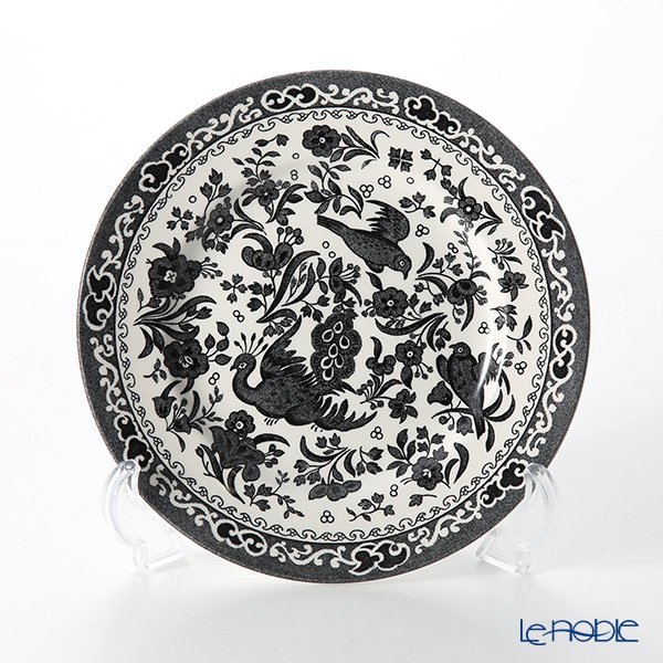 Burleigh Pottery Black Regal Peacock Plate 17.5 cm