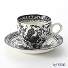 Burleigh Pottery 'Black Regal Peacock' Tea Cup & Saucer 200ml