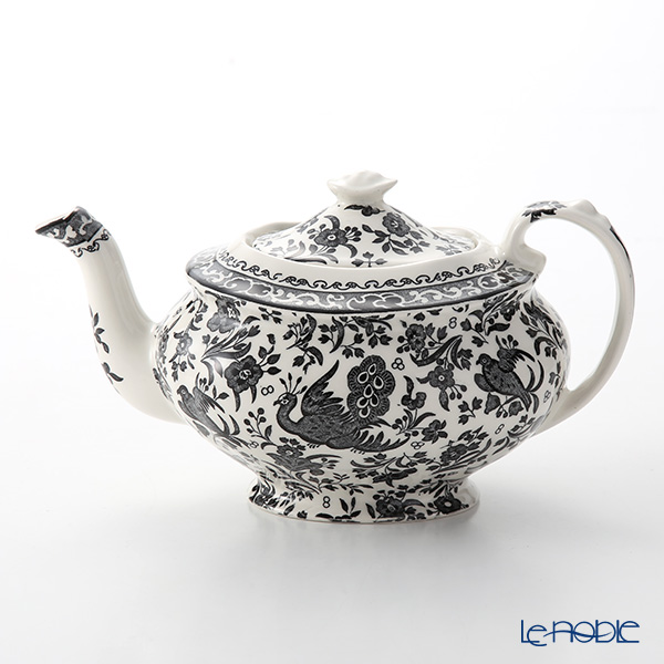 Burleigh Pottery Black Regal Peacock Teapot, large, 7 cups 800 cc / 1.5 pt