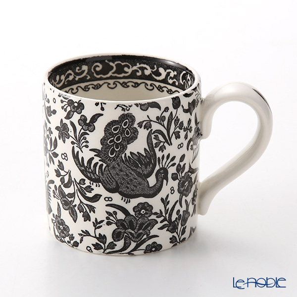 Burleigh Pottery Black Regal Peacock Mug 284 ml / 0.5 pt