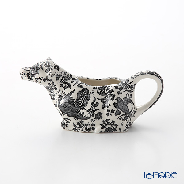 Burleigh Pottery Black Regal Peacock Cow Creamer 150 ml / 0.25 pt