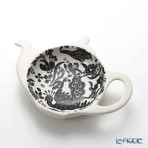 Burleigh Pottery 'Black Regal Peacock' Mini Tray (Tea Pot shape)