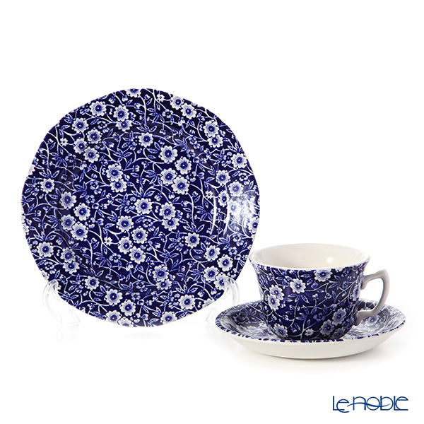 "Burleigh Pottery Blue Calico ""Tea set for 1 person"" Tea Cup & Saucer, Plate (set of 2)"
