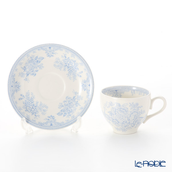 "Burleigh Pottery Blue Asiatic Pheasants ""Tea set for 1 person"" Tea Cup & Saucer, Plate (set of 2)"