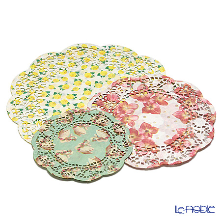 Talking Tables トーキングテーブルズ レースペーパー 24枚入 ピンクフラワー&イエローローズ&白鳥グリーン 各8枚 PRL-DOILIES