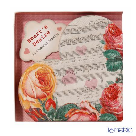 トーキングテーブルズ 紙ナプキン 15枚入ハート型 バラと楽譜 25×25cm LT-HRTNAPKIN