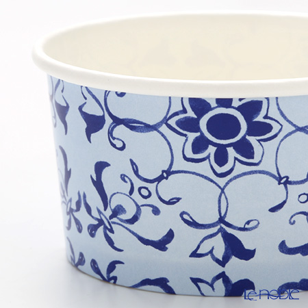 Talking Tables 'Party Porcelain Blue' [Paper] Ice Cream Cup  (set of 8 / 2 patterns with Wooden Spoon)
