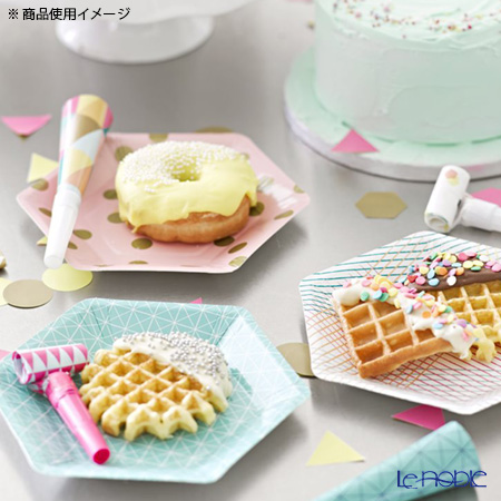 Talking Tables トーキングテーブルズ 六角形★紙皿 17cm 12枚入Party Time PARTY-PLATE 3柄各4枚