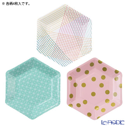 Talking Tables トーキングテーブルズ 六角形★紙皿 17cm 12枚入 Party Time PARTY-PLATE 3柄各4枚