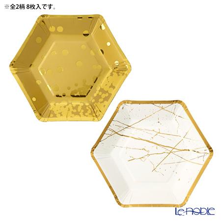 トーキングテーブルズ 六角形★紙皿 18cm 8枚入メタリック 2柄各4枚 MET-PLATE-HEX