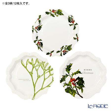 Talking Tables トーキングテーブルズ 紙皿 20cm 12枚入 ボタニカルクリスマス BC-PLATE-MED 3柄各4枚