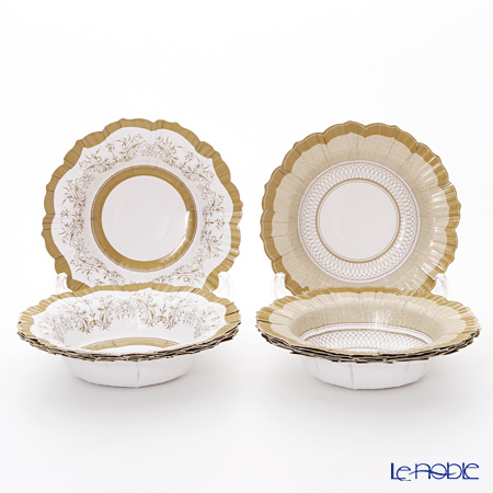 Talking Tables Party Porcelain Gold Bowls, 2 pattern & 12 bowls PPG-BOWL