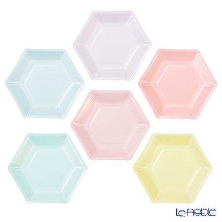 トーキングテーブルズ 紙皿六角形 18cm 12枚パステル PASTEL-PLATE-HEX 6色各2枚