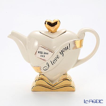 ティーポッタリー Teapotteryハート(ホワイト×ゴールド) S