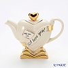 Teapottery Heart Teapot (I love you), gold on white