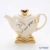 Teapottery Heart Teapot, I Love You!, white S