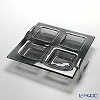 Glassious 'Life' Fume Black LIF-060F Square Tray with Metal feet 35x30xH7cm