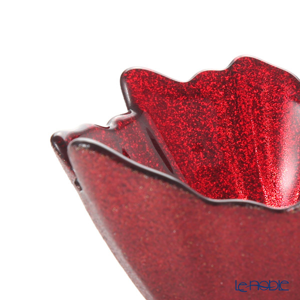 Vetro Felice 'Glitter' Red Leaf Bowl 13cm
