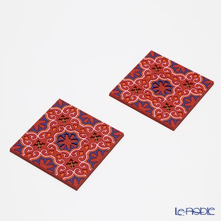 イマージュ・ドゥ・オリエント セジャデ コースター 赤×ピンク 2枚セット COA990042