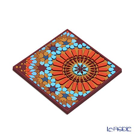 Images D'orient 'Moucharabieh - M1' Orange & Blue COA990082 Square Coaster 9x9cm (set of 2)