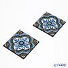 Images D'orient 'Sejjadeh - Azur' Blue COA994012 Square Coaster 9x9cm (set of 2)