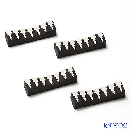 イマージュ・ドゥ・オリエント モザイク黒ナイフレスト 黒×ホワイト 4個セット CTH142014