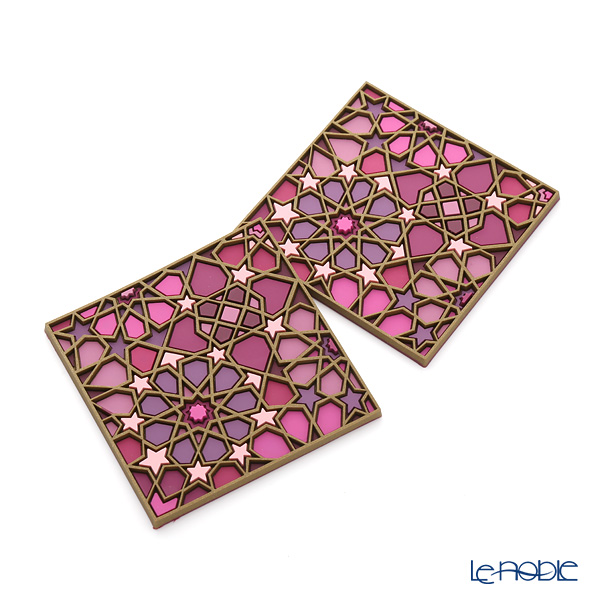 Images D'orient 'Moucharabieh - Parme' Pink COA990192 Square Coaster 9x9cm (set of 2)