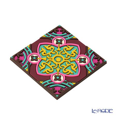 Images D'orient 'Sejjadeh - Urjuwan' Yellow & Pink COA990102 Square Coaster 9x9cm (set of 2)