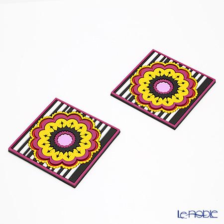 イマージュ・ドゥ・オリエント ヘンネ コースター 黄色×レッド 2枚セット COA990162