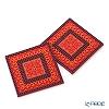 イマージュ・ドゥ・オリエント セジャデゼンコースター 赤×オレンジ 2枚セット COA992082